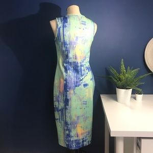 Apt. 9 Dresses - Watercolor Print Scuba Midi Bodycon Dress